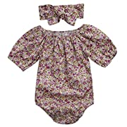 Emmababy Newborn Kids Baby Girls Clothes Floral Outfits Set Romper with Headband Fall Bodysuit (0~6months, Floral)