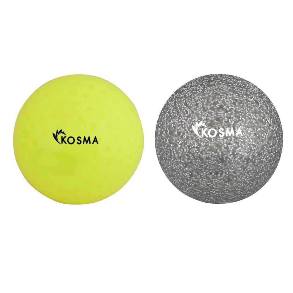 Kosma Ensemble de 2 Balles de Hockey | Sports de plein air Formation pratique en PVC blanc (balle Dimple, Golden Glitter, set de 2)