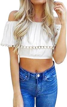 LILICAT® Mujeres Sólido Sexy Off Hombro Camisetas, Blusa Moda Encaje Manga Corta Borla Vestidos de Fiesta Básico Verano 2018: Amazon.es: Deportes y aire libre