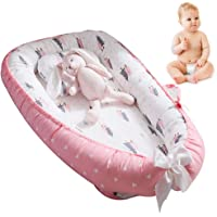 Newborn Baby Lounger,Multifunctional Baby Nest, Portable Soft Breathable Baby 100% Cotton Swaddling Wrap for Newborn Babies Bionic Bed (A:Pink)