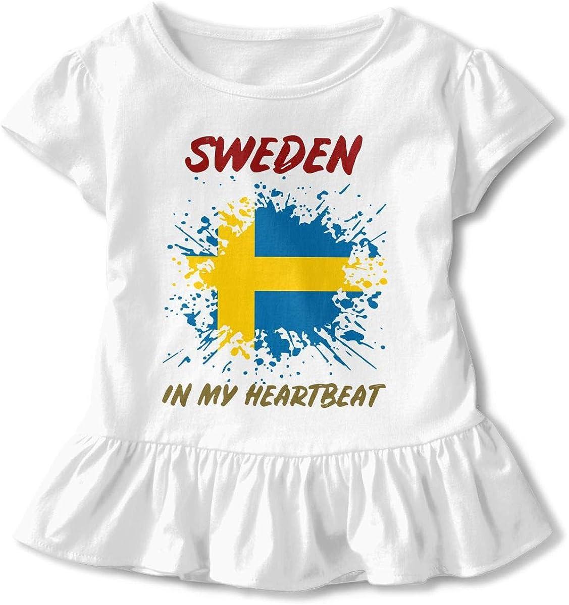Heartbeat Latvia Childrens Girls Short Sleeve T-Shirt Ruffles Shirt T-Shirt for 2-6T