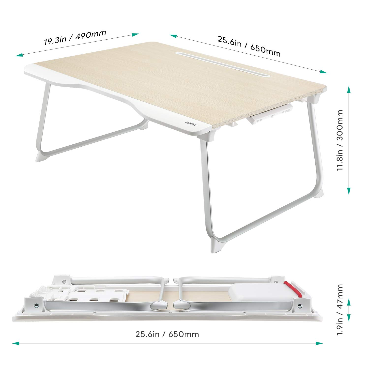 AUKEY Laptop Bed Table (Large Size) Foldable Portable Laptop Stand with Aluminum Alloy Legs, Book Stand and Drawer for Reading, Writing, and Working by AUKEY (Image #7)