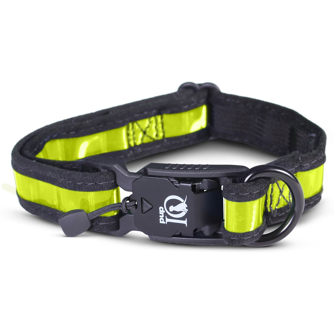 Lime Yellow Large Lime Yellow Large PUP IQ SmartPup Prisma Reflective Dog Collar, for Reflectivity and Durability, Lime Yellow, Large