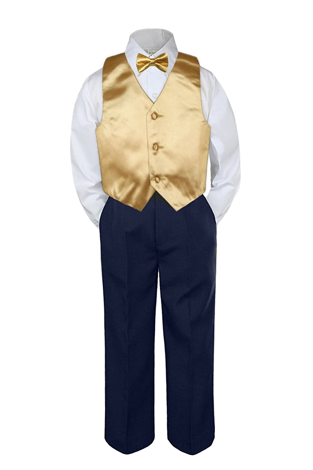 Leadertux 3pc Formal Baby Toddler Boys Satin White Necktie White Pants Suits S-7 4T