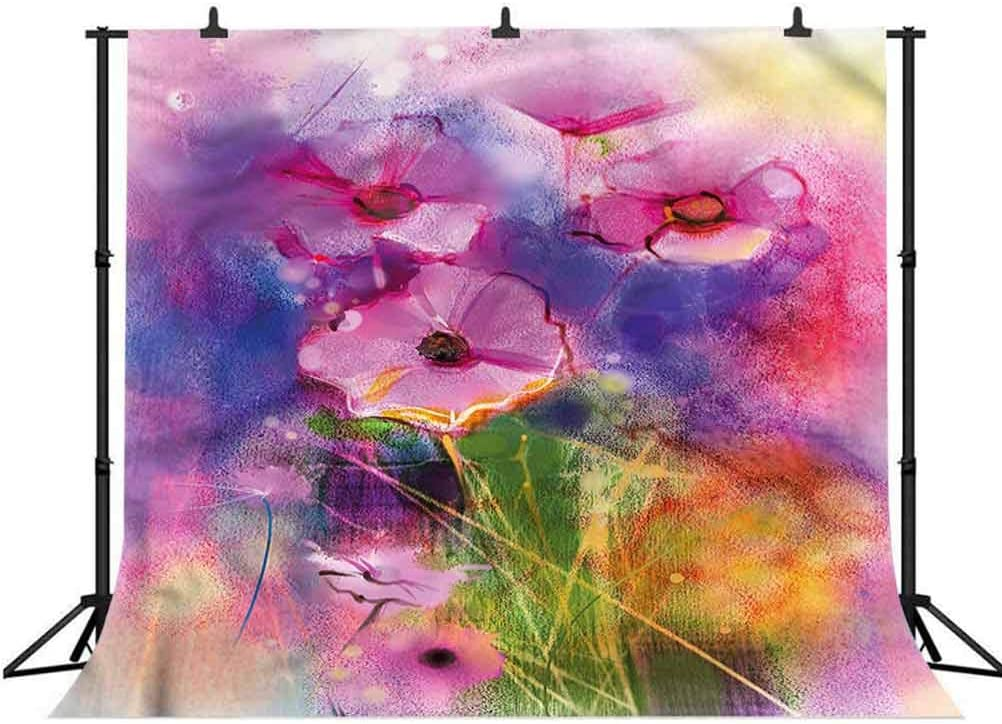 5x5FT Vinyl Backdrop Photographer,Flower,Misty Flower Fields Meadow Background for Party Home Decor Outdoorsy Theme Shoot Props