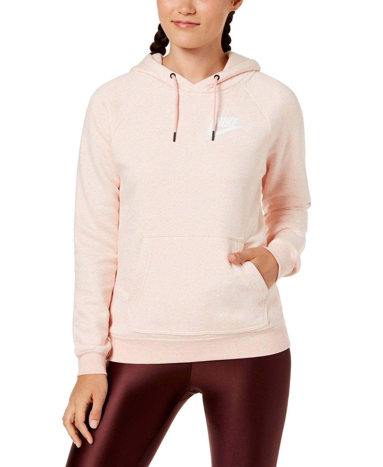 Nike Womens Rally Pull Over Hoodie Storm Pink/Heather/Sail AJ6315-646-Size Small