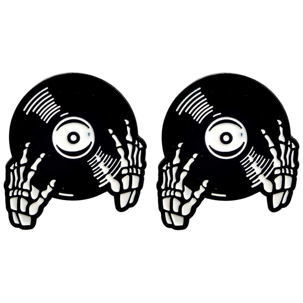 Charmart Skeleton Record Hands Pin 2 Piece Set DJ Hands People who are Obsessed with Music Rhythm Halloween Decoration Brooches Pins