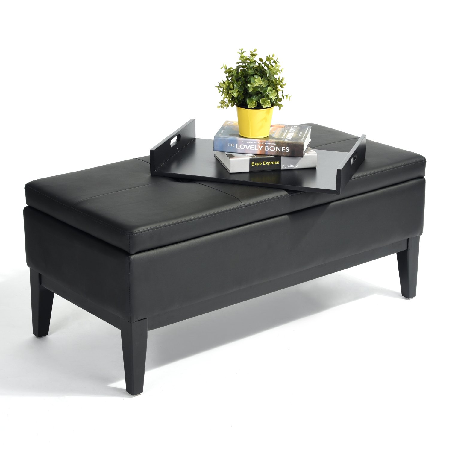 Black Bonded Leather Storage Bench with Wood Tray
