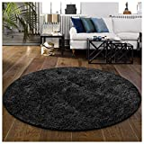 Superior Hand Tufted Thick, Plush, Cozy Quality Shag Textured Area Rugs, Black - 4' Round