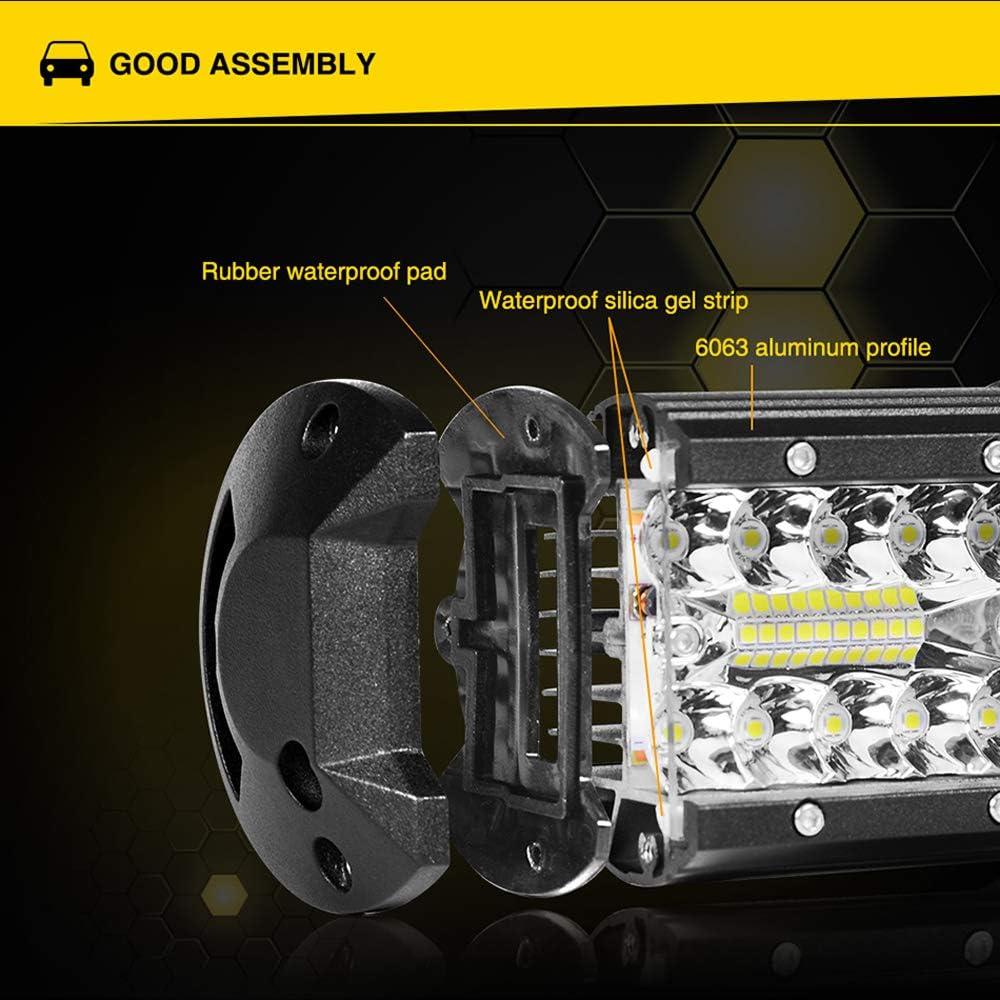 Ricoy 7inch LED Light Bar 2pcs 240W Offroad Driving Lights LED Pods Spot Flood Combo Beam 2 Pcs 7inch 240w