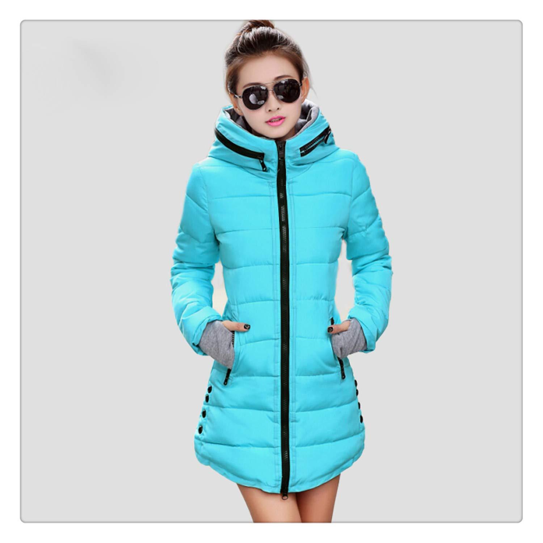 74d66c5b98 Nhequren Warm Winter Jackets Women Fashion Down Cotton Parkas Casual Hooded  Long Coat Thickening Zipper Slim Fit Plus Size Long Parka Light Blue XXXL  at ...