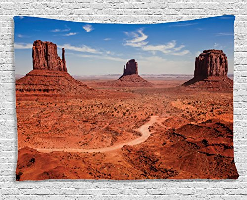 Ambesonne Western Decor Collection, American Desert Arizona Canyon Monuments Valley National Park Wild West, Bedroom Living Room Dorm Wall Hanging Tapestry, 80W X 60L Inch