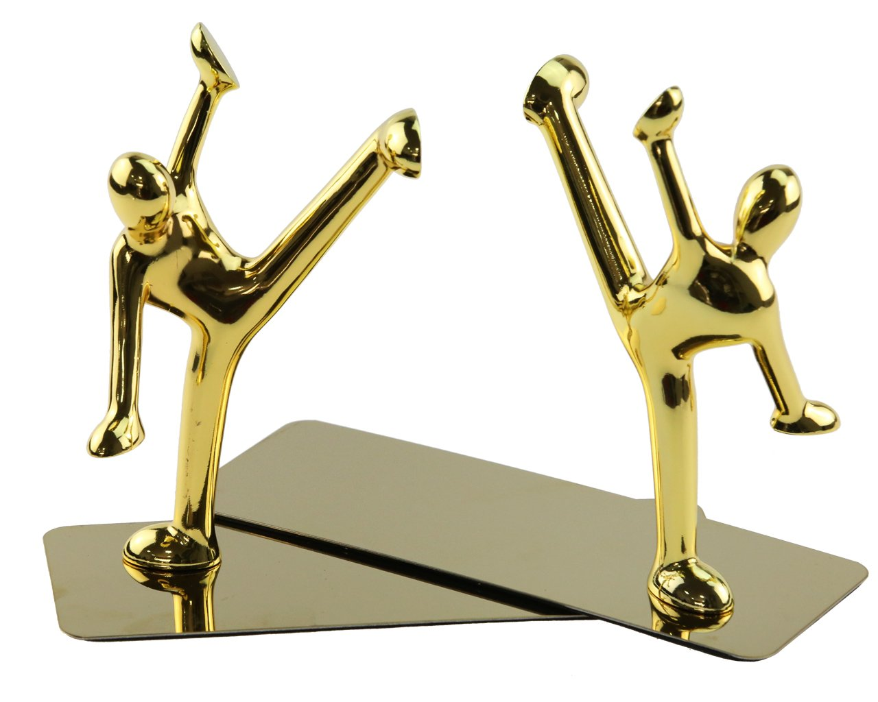 Creative Gold Stainless Steel Kung Fu Man kick Legs Book Organizer Metal Bookends Book Ends for Desk Office Home Decoration Gift by Apol