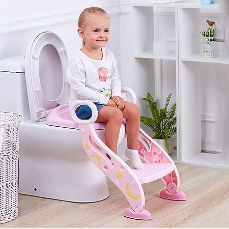 JKGFD Escalera del baño Asiento del Inodoro Plegable Niño WC Entrenamiento Paso Taburete Estabilidad Antideslizante/Altura Ajustable Bebé niño pequeño Entrenador de Inodoro (Azul),Pink: Amazon.es: Hogar