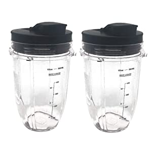 Replacement 18oz cup with Spout Lid for 900w 1000w Nutri Ninja Blender Auto iQ 900w 1000w Nutri Ninja Blender Auto iQ series (2, 18oz)
