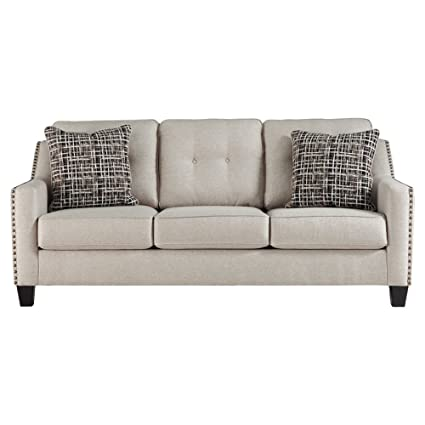 Etonnant Benchcraft   Marrero Contemporary Upholstered Sofa With Nailhead Trim   Fog