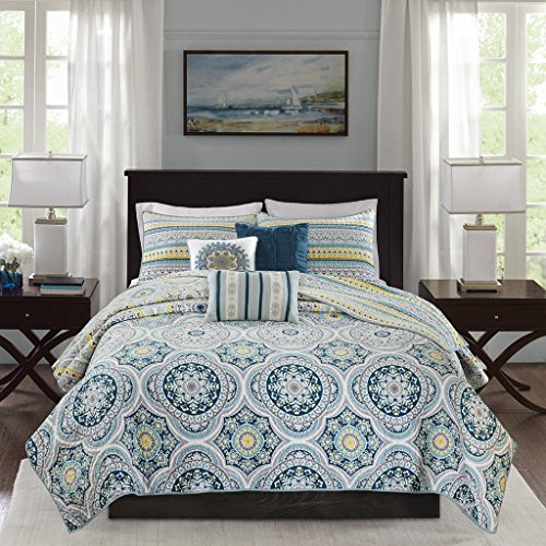 Madison Park Mercia 6 Piece Reversible Cotton Sateen Quilt Set Coverlet Bedding, King/Cal King Size, Navy