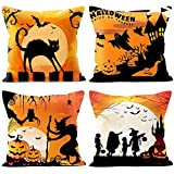 4 Packs Halloween Pillows Cover Decorations Pumpkin Bat Goast Cat Pillow Cases Decor Halloween Throw Pillow Case Sofa Waist Throw Cushion Covers Home Decor Square 18 x 18 inches