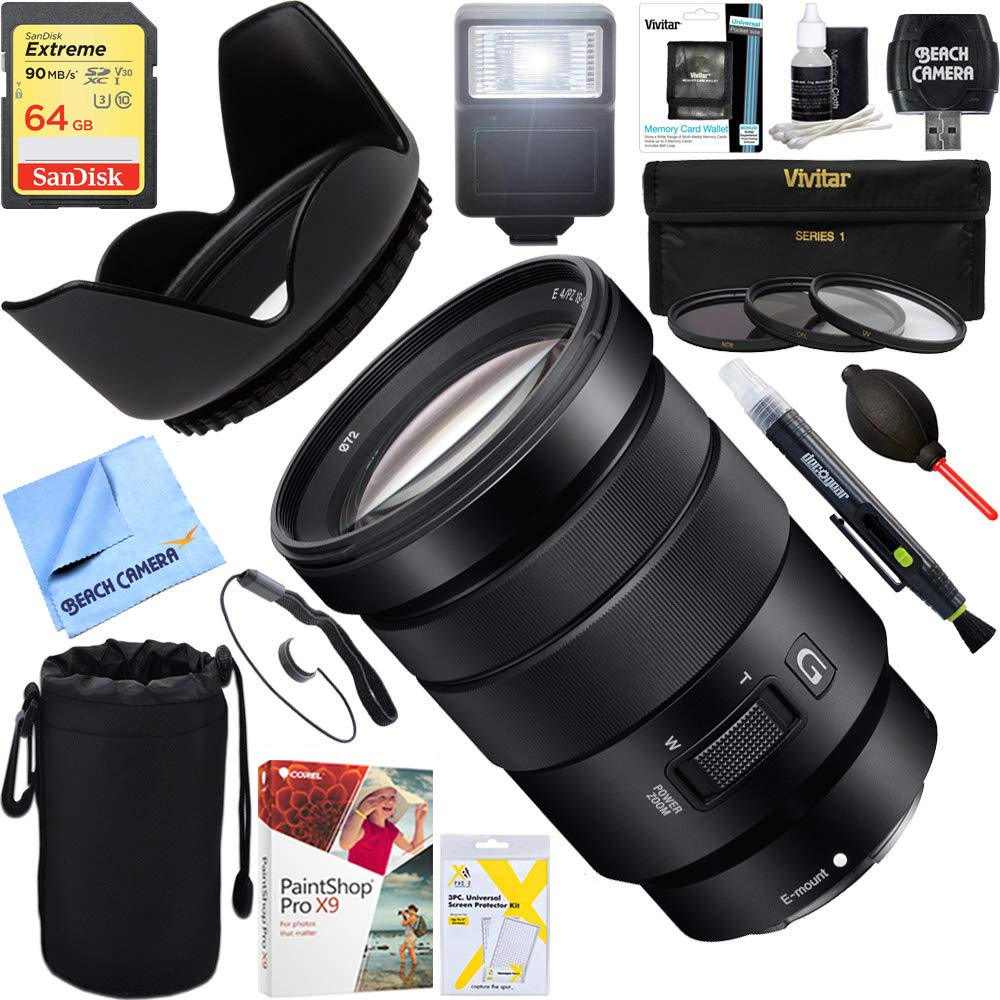Sony (SELP18105G) E PZ 18-105mm f/4 G OSS Power Zoom Lens + 64GB Ultimate Filter & Flash Photography Bundle by Sony