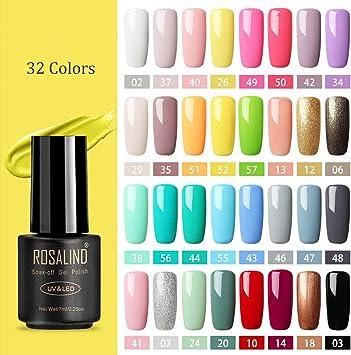 ROSALIND Esmaltes Semipermanentes de Pastel, 32 Colores de Esmaltes de Uñas en Gel UV LED para Manicura Nail Art Design Kit 7ml: Amazon.es: Belleza