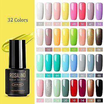 Amazon Com Gel Nail Polish Set 32 Colors Soak Off Gel Polish For Nail Art Design Blue Pink Green Summer Colors Varnish 7ml Mini Bottle Beauty