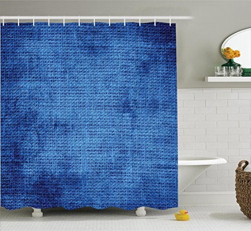 Ambesonne Navy Blue Decor Collection, Faded Burlap Texture Old Fashioned Grunge Style Decorative Design Home, Polyester Fabric Bathroom Shower Curtain Set with Hooks, Royal Blue