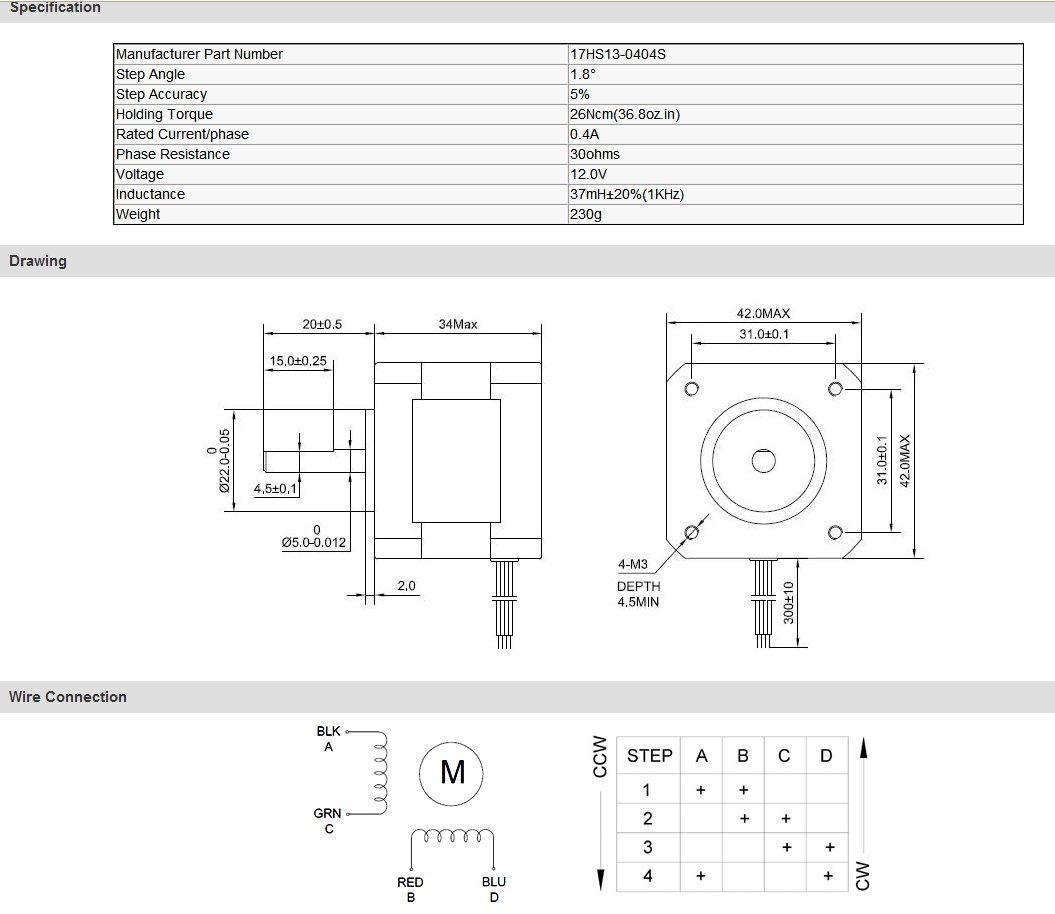 4pcs Nema 17 Stepper Motor 26Ncm (36.8oz.in) 0.4A 34mm Length for 3D  Oz Nema Stepper Wiring Diagram on