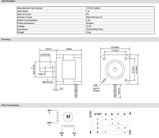 4pcs Nema 17 Stepper Motor 26Ncm (36.8oz.in) 0.4A 34mm Length for 3D Nema Stepper Oz Wiring Diagram on