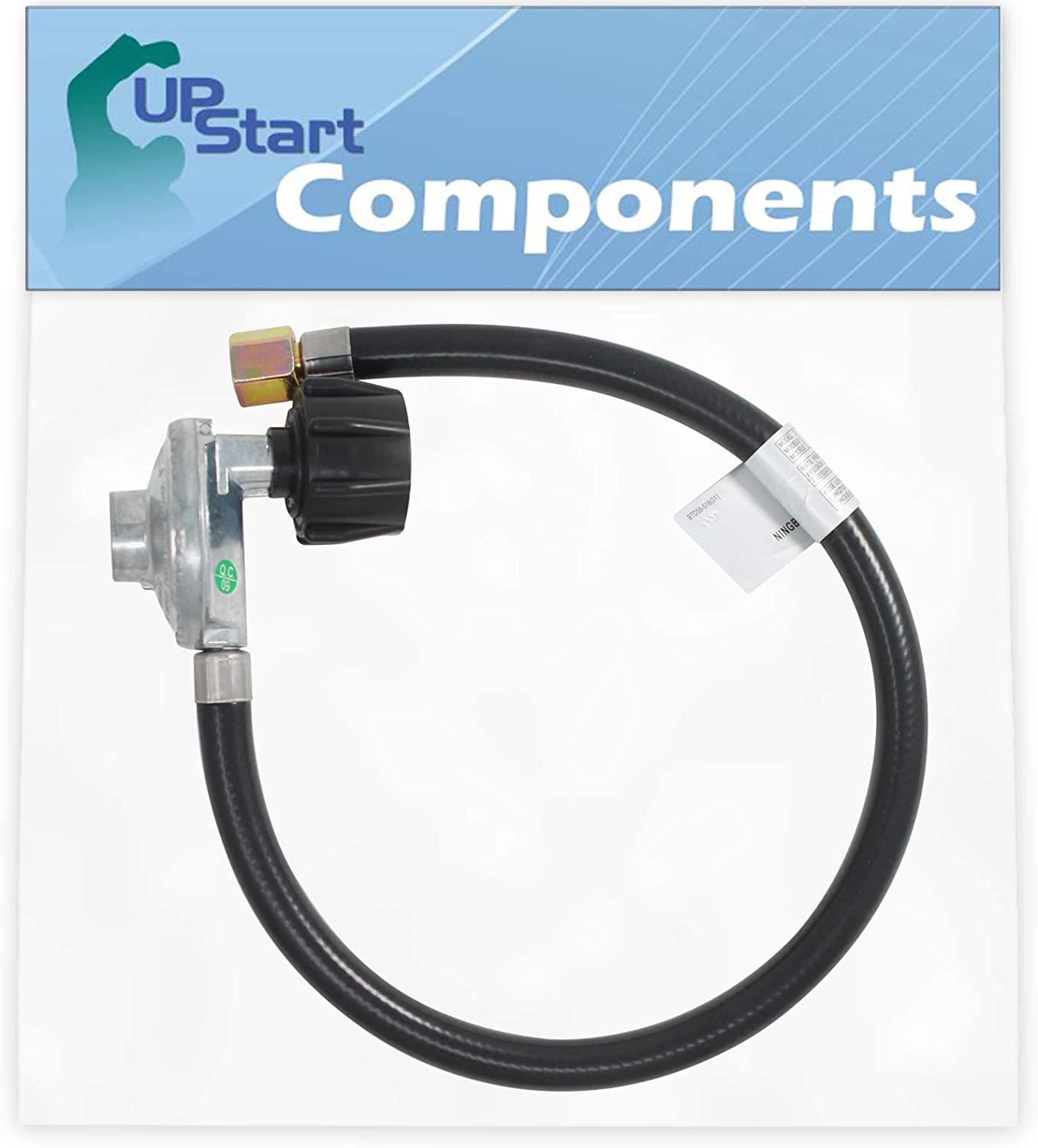 UpStart Components BBQ Gas Grill Propane Regulator Hose Replacement Parts for Weber 7502 - Compatible Barbeque 21 Inch QCC1 Regulator and Hose Kit