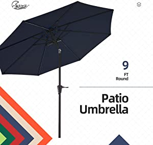 wikiwiki 9ft Patio Umbrella Outdoor Market Table Umbrella with Push Button Tilt and Crank (Navy Blue)