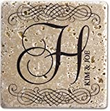 Infusion Personalized Tumbled Travertine Coasters - Set of 4 (Vintage Initial and Couple Name)