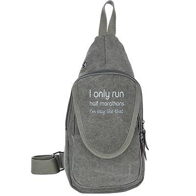 delicate I Only Run Half Marathons I'm Lazy Like That Fashion Men's Bosom Bag Cross Body New Style Men Canvas Chest Bags