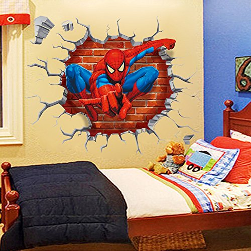 NOMSOCR 3D Wall Stickers, Vinyl Stickers DIY Family Decor Wall Art for Kids Living Room Bedroom Bathroom Tile Office Home Decoration (Spider Man) by NOMSOCR (Image #5)