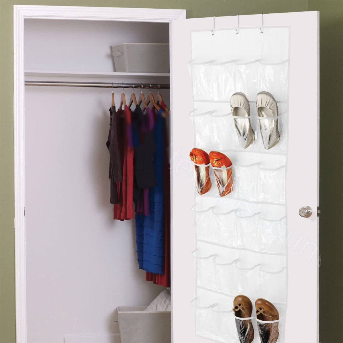 Beige Easyinsmile Clear Over The Door Shoe Hanging Organizer with 24 Clear Pockets Organizer,Hanging Shoes Oragnizer.