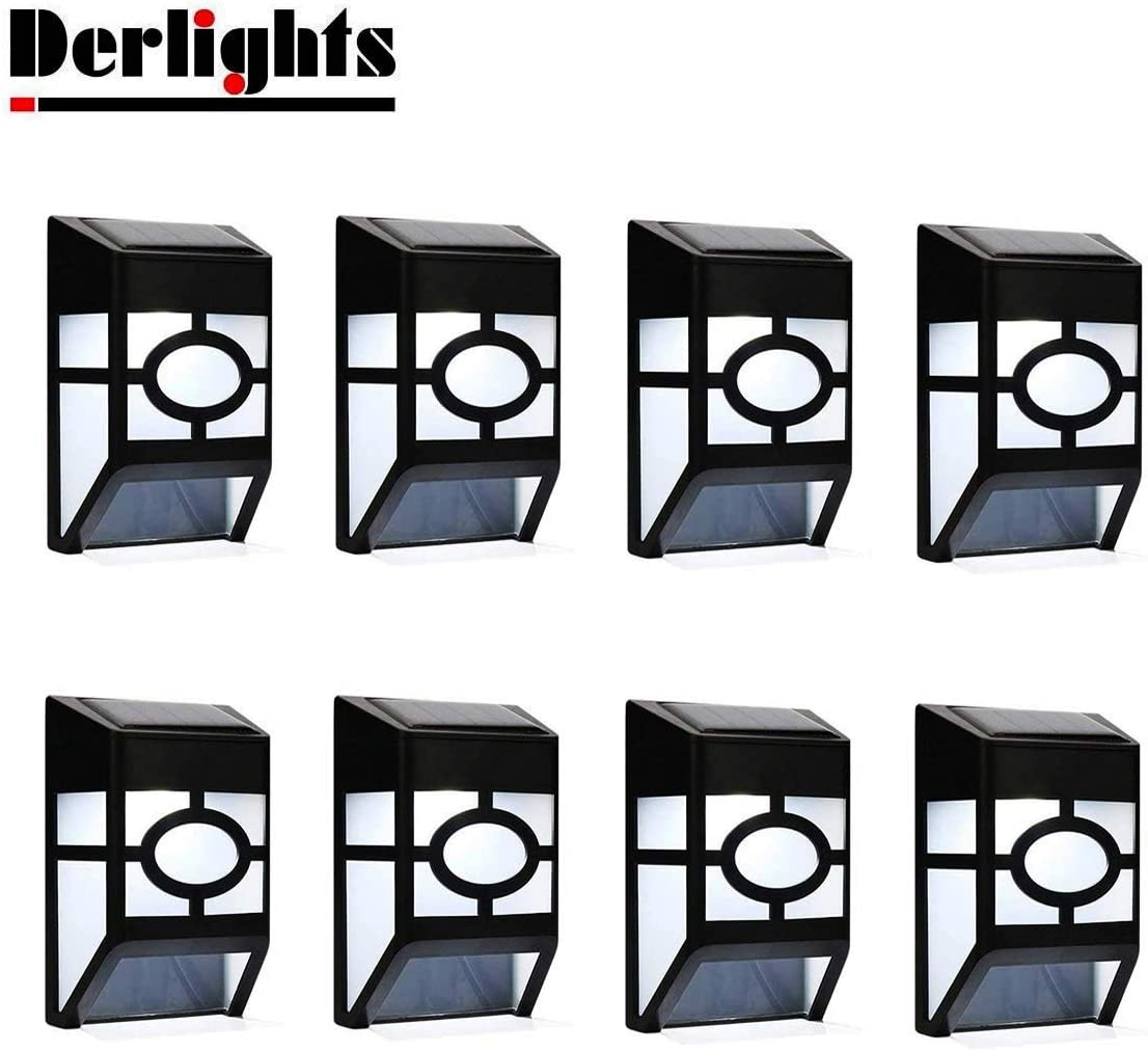 Derlights Solar Powered Wall Lights Outdoor Solar Deck Lights Waterproof for Fence Post Garden Yard Lawn Roof Landscape Lighting Decoration 8pcs