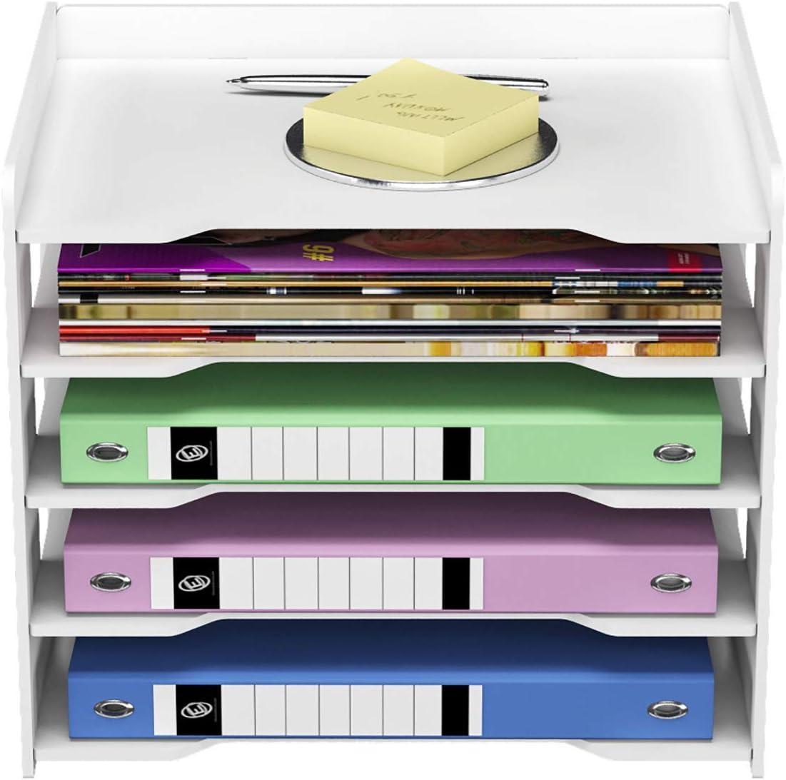 Hemoton Desk Organizer Rattan Magazine File Rack Holder Organizer Desk Accessories File Organizer Storage Container for Desk Organization and Paper Organizer Brown Home Restaurant Hotel