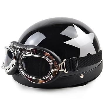 [negro brillante estrella] adultos Scooter frío/Chopper/casco de moto con gafas