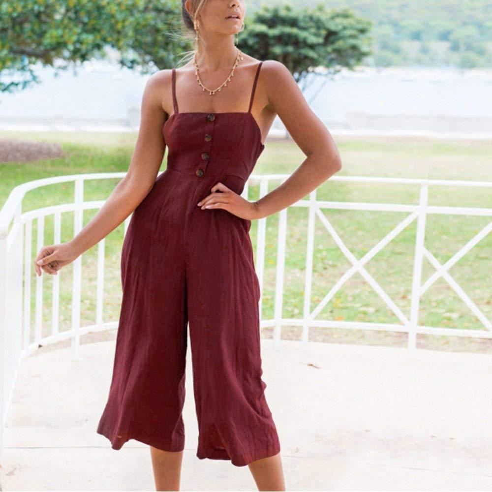 GWshop Ladies Fashion Elegant Jumpsuit Women Jumpsuits Elegant Wide Leg Summer Strappy Soild Button Long Trouser Playsuits Wine S by GWshop (Image #2)