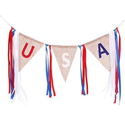 USA Banner, 4th of July Garland, American Independence Day Celebration Party Decor, Memorial Day Veterans Day Rustic Patriotic Summer Home Party Supplies Decorations: Toys & Games