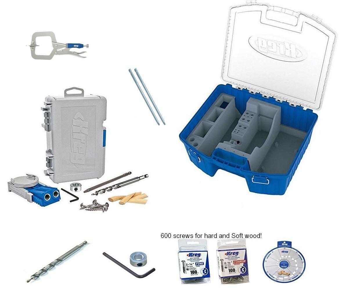 Kreg R3 Pocket Hole Jig KTC55 Storage box clamp 300 screws SSW extra bit collar
