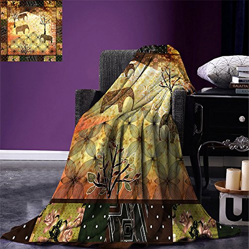 Smallbeefly African Custom Printed Throw Blanket Patchwork Inspired Magnificent Elephant Print Throw Blanket