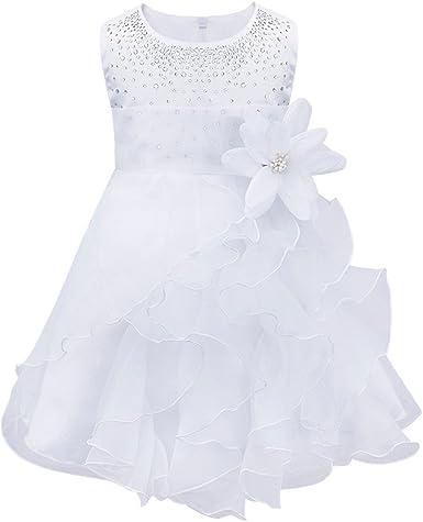 Tiaobug Bebe Fille Robe De Bapteme Princesse Tutu Sans Manche Fleur Robe Soiree Ceremonie Mariage 3 Mois 3 Ans Amazon Fr Vetements Et Accessoires