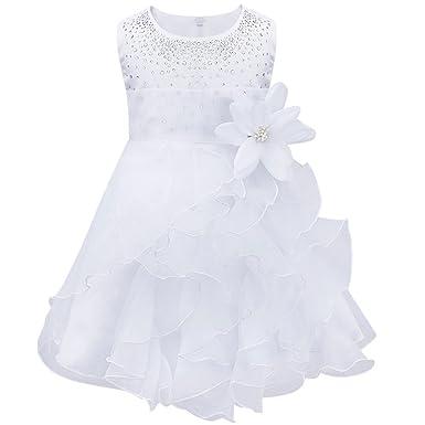 44e66a34e3915 TiaoBug Bébé Fille Robe de Baptême Tutu sans Manche Fleur Robe de Cérémonie  Mariage 3 Mois