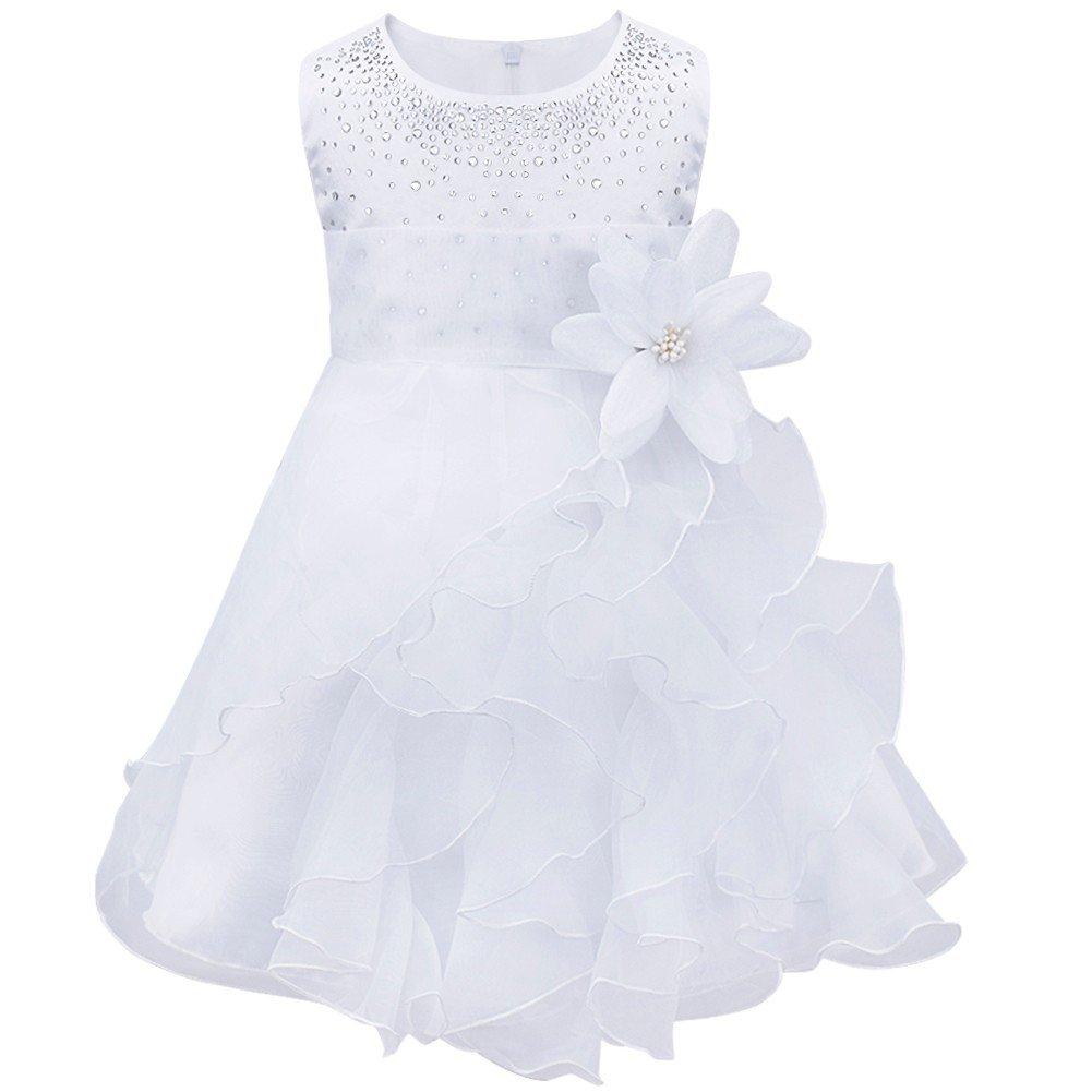 TiaoBug Baby Girls Organza Rhinestone Wedding Birthday Party Flower Girl Dress Pageant Baptism Christening Gown White 18-24 Months