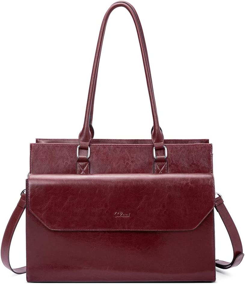 Briefcase for Women Oil Wax Leather Vintage 15.6 Inch Laptop Business Shoulder Bag Wine Red