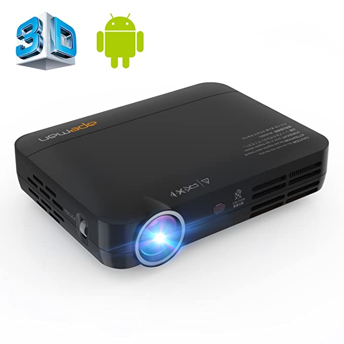APEMAN Mini Proyector, 3D Proyector DLP Porátil HD, Sistema Andriod 4.4 con Wi-Fi y Bluetooth, Resolución de 1280P, Vida de LED hasta 30000Horas