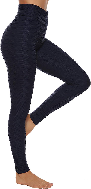 STARBILD Legging Sportivi per Donna Anti-Cellulite Vita Alta Pantaloni Compressione Slim Push Up Yoga Fitness D-Blu S