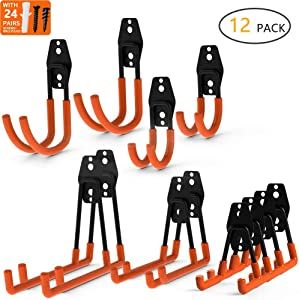 Intpro 12pack Steel Garage Storage Utility Double Hooks Organizer, Heavy Duty Wall Mount Tool Holder for Organizing Power Tools,Ladders,Bulk items