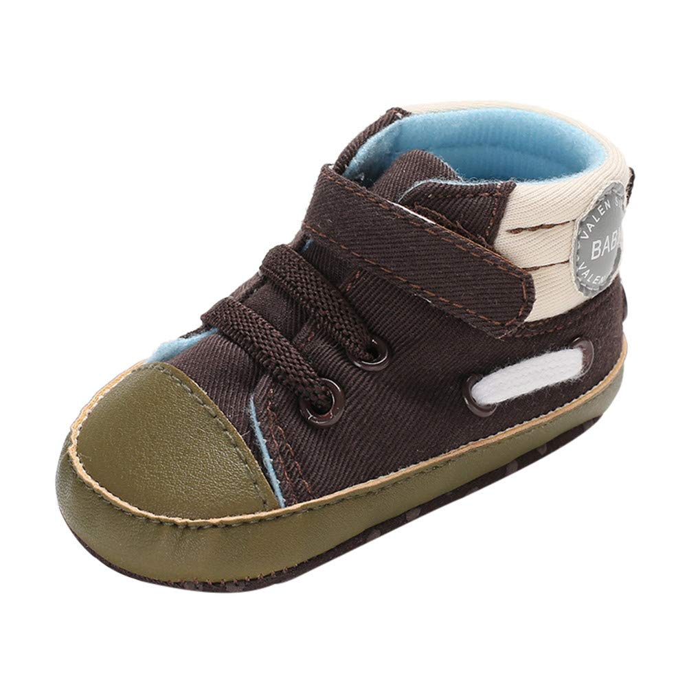 NUWFOR Infant Newborn Baby Girls Boys Letter Print Winter Boots Prewalker Warm Shoes(Brown,0-6 Months)