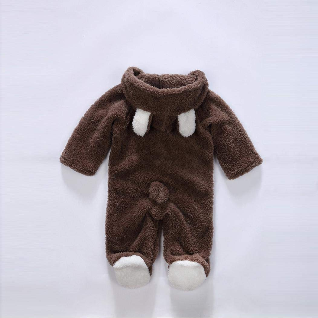 erthome Newborn Baby Boys Girls Romper 0-12 Months Long Sleeves Keep Warm Cartoon Hooded Romper Jumpsuit